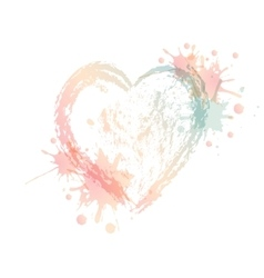Watercolor heart with splash vector