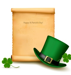 Background with st patricks day hat with clover vector