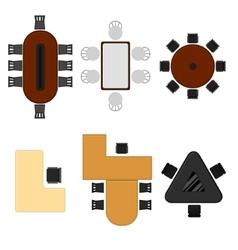 Cartoon business office table set top view vector