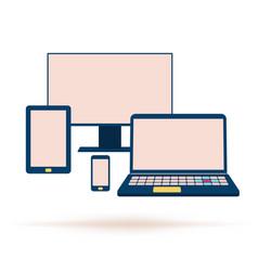 gadget icons mockup flat set vector image