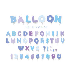Balloon blue font cute abc letters and numbers vector