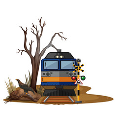 Train ride in dry desert vector