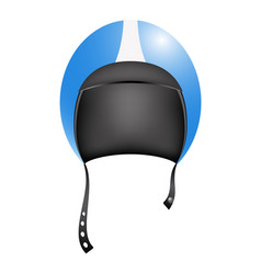 Retro motorcycle helmet in blue and white design vector