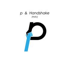 Creative p- letter icon abstract logo design vector