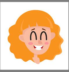 Pretty blonde hair woman laughing facial vector