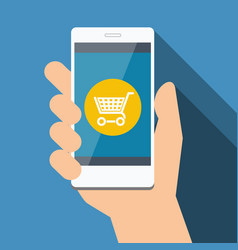 mobile phone with online shopping flat design vector image