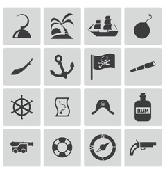 Black pirates icons set vector