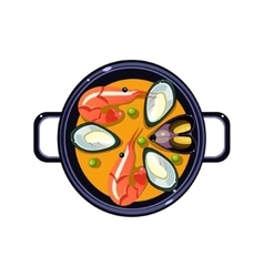 Seafood soup in a bowl served food vector