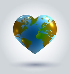 Earth in the shape of heart vector