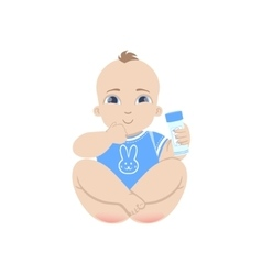 Baby in blue holding powder vector