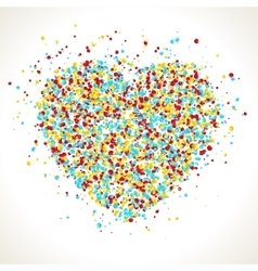 Heart shape with dots inside confetti background vector