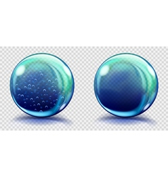 Two big blue glass spheres vector