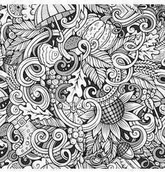Cartoon cute doodles autumn seamless pattern vector