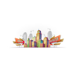 big city buildings on the background of buildings vector image