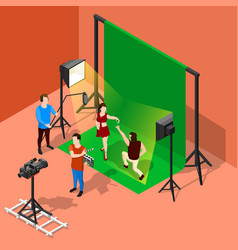 Chromakey shooting isometric composition vector