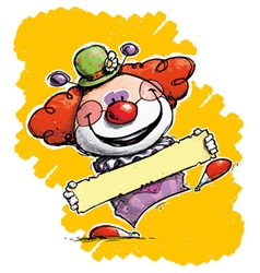 Clown holding a label vector