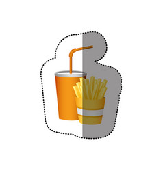Color soda and fries french fast food vector