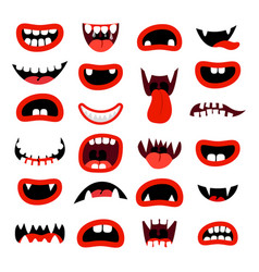 cute monsters mouth set vector image