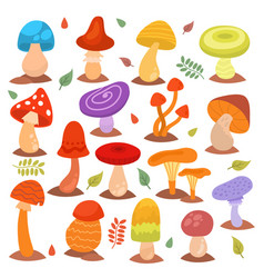 Different cartoon mushrooms isolated on white vector