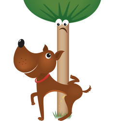 Dog urinating on tree vector