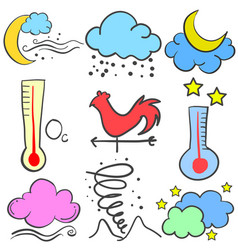 Doodle of weather various style vector