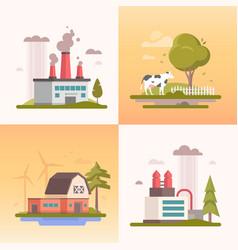 Ecology - set of modern flat design style vector