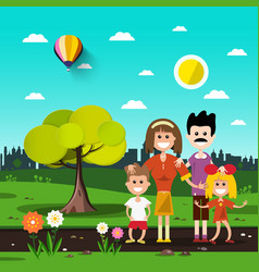 Family in city park vector