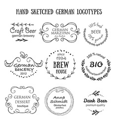 German vintage badges and icons vector
