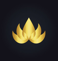 Gold beauty lotus flower abstract logo vector