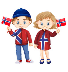 Happy boy and girl holding flag of norway vector