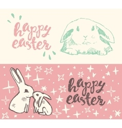 Happy Easter greeting card cute bunny vector image vector image
