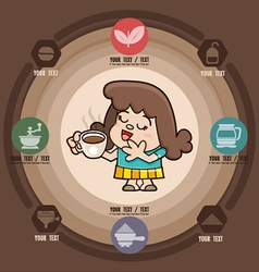 Happy girl with cup of coffee icons vector
