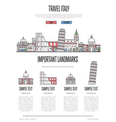 italy travel infographics in linear style vector image