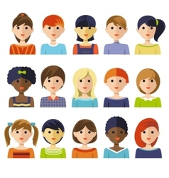 Kids faces icon set vector