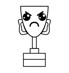 Line kawaii cute angry prize cup vector