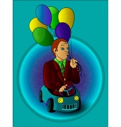 Man with balloons in the toy car full color vector image