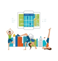 Mobile phone - fitness app concept on touchscreen vector image