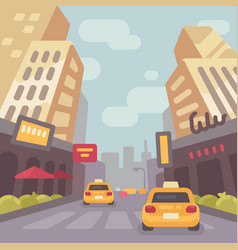 Modern city street with taxi cars and skyscrapers vector