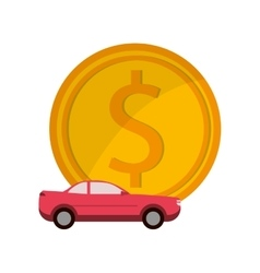 Money and car icon vector