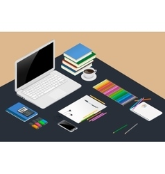 Office workspace design concept with open laptop vector image