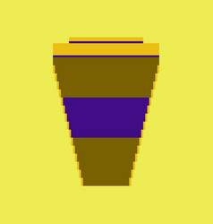 pixel icon in flat style coffee to go vector image vector image