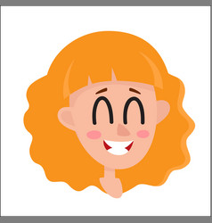 Pretty blonde hair woman laughing facial vector