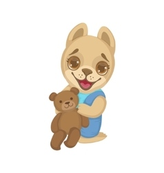 Puppy With Teddy Bear vector image