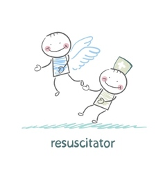 resuscitator keeps flying away into the sky vector image vector image