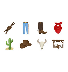 Rodeo competition icons in set collection for vector