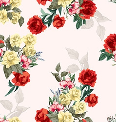 seamless floral pattern with yellow and red roses vector image vector image