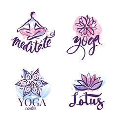 set of yoga studio and meditation class logo vector image vector image