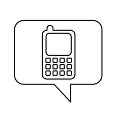 Speech bubble with cellphone icon vector