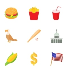 State of usa icons set cartoon style vector