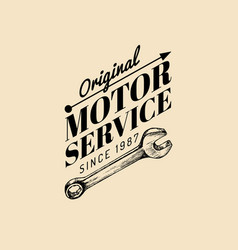 vintage motorcycle repair logo retro vector image vector image